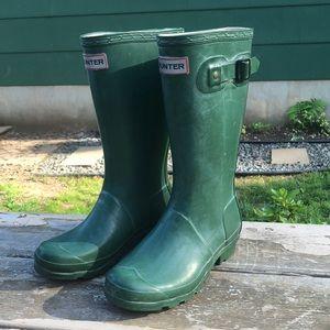 Hunter Kids Green Boots Size 3M/4F